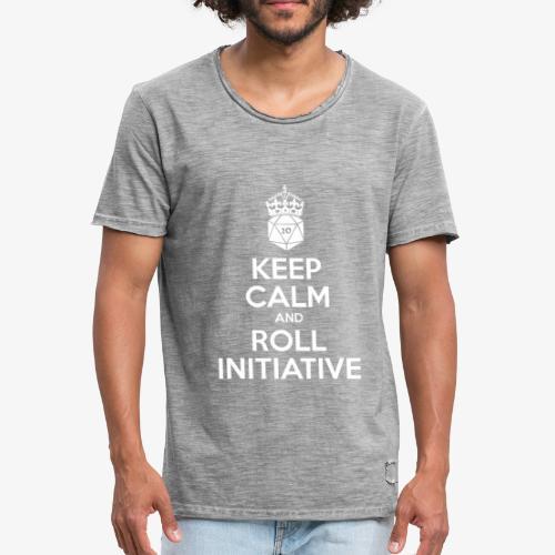 Keep Calm and Roll Initiative gray shirt - Mannen Vintage T-shirt