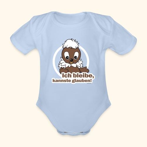 Baby Kurzarm-Body Pittiplatsch Ich bleibe - Baby Bio-Kurzarm-Body