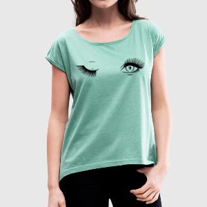 Mascara Blinking Eyes T-Shirts - Women's T-shirt with rolled up sleeves