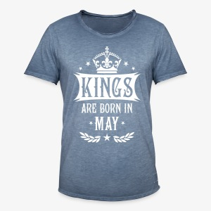 Kings are born in May Krone King Star T-Shirt - Männer Vintage T-Shirt