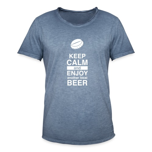 Keep Calm – Enjoy Local Beer (Vintage – blue) - Männer Vintage T-Shirt