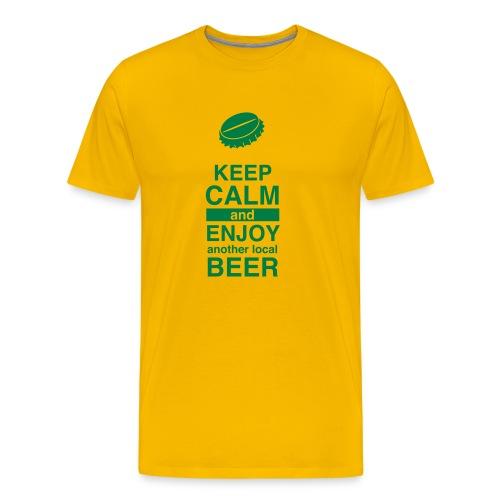 Keep Calm – Enjoy Local Beer (Sunny) - Männer Premium T-Shirt