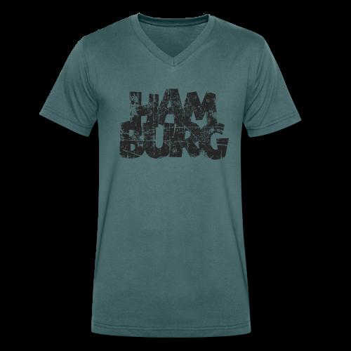 Hamburg (Vintage Schwarz) V-Neck T-Shirt - Männer Bio-T-Shirt mit V-Ausschnitt von Stanley & Stella