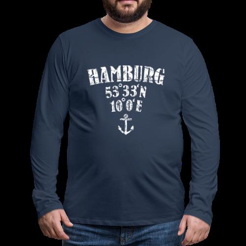 Hamburg Koordinaten (Vintage/Weiß) Langarmshirt - Männer Premium Langarmshirt