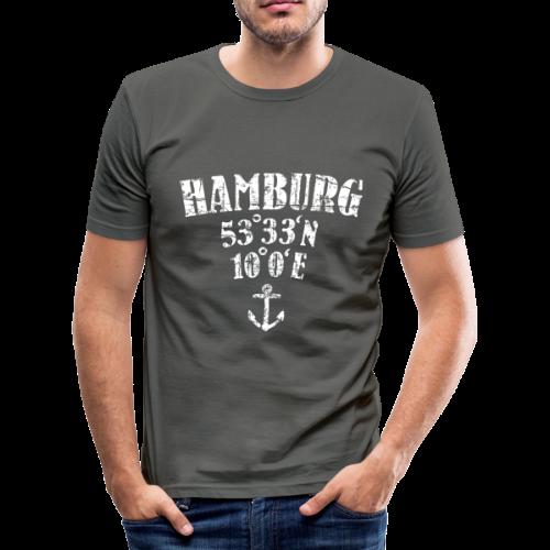 Hamburg Koordinaten (Vintage/Weiß)  Slim Fit T-Shirt - Männer Slim Fit T-Shirt