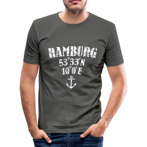 Hamburg Koordinaten (Vintage/Weiß)  Slim Fit T-Shirt - Männer Slim Fit T-Shirt