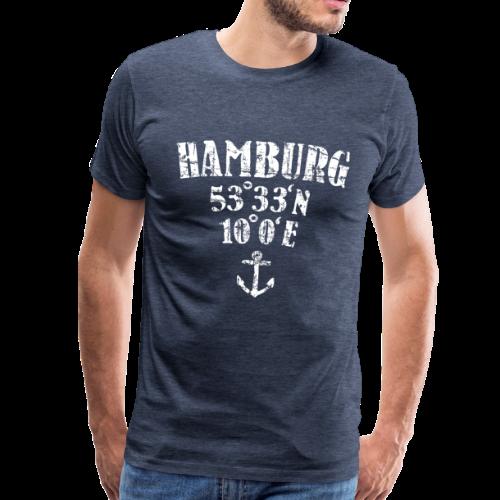 Hamburg Koordinaten (Vintage/Weiß)  S-5XL T-Shirt - Männer Premium T-Shirt