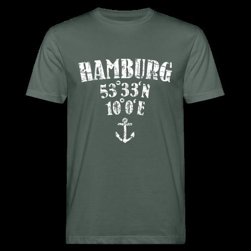Hamburg Koordinaten (Vintage/Weiß)  Bio T-Shirt - Männer Bio-T-Shirt