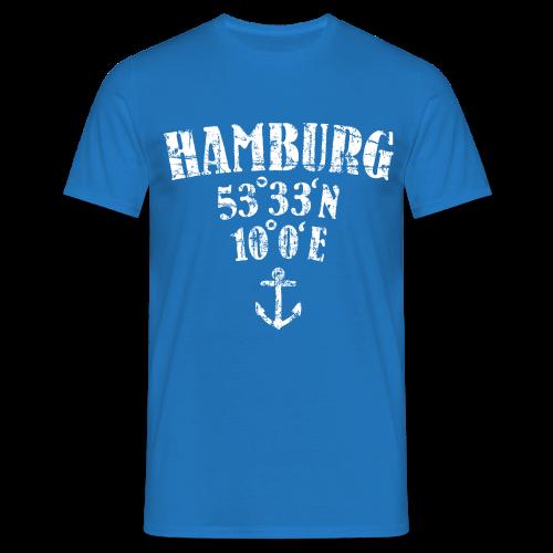 Hamburg Koordinaten (Vintage/Weiß)  T-Shirt - Männer T-Shirt