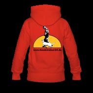 Pullover & Hoodies ~ Frauen Premium Kapuzenpullover ~ Kaputzenpullover Damen rot  Rückenlogo