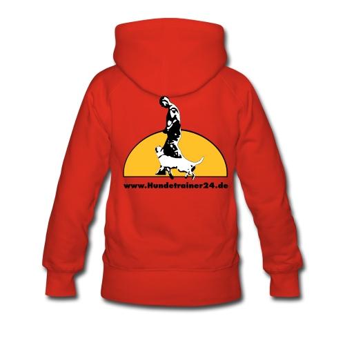 Kaputzenpullover Damen rot  Rückenlogo  - Frauen Premium Hoodie