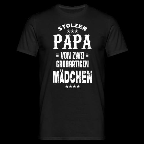 Stolzer Papa von zwei Mädchen - Männer T-Shirt