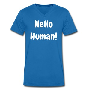 Hello Human - Original - Men's Organic V-Neck T-Shirt by Stanley & Stella