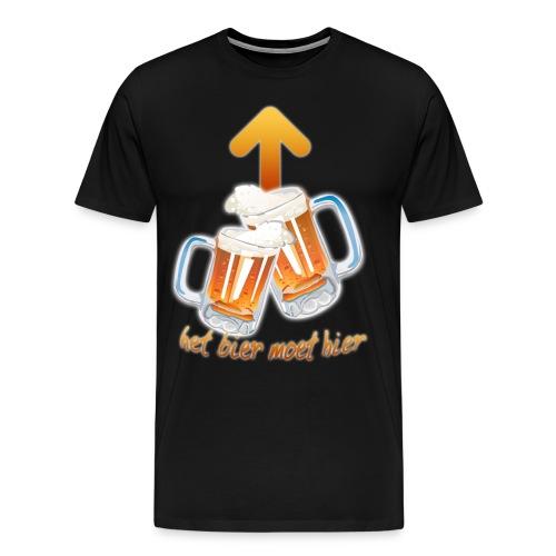 Het bier moet hier t-shirt Alleen voorkant ZWART - Mannen Premium T-shirt