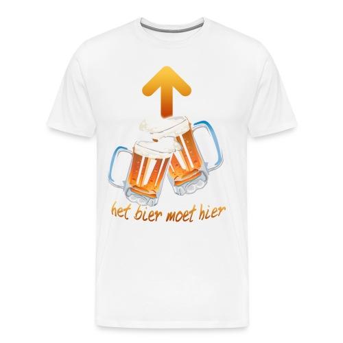 Het bier moet hier t-shirt Alleen voorkant WIT - Mannen Premium T-shirt