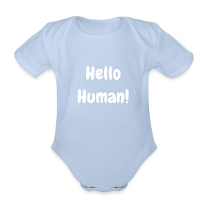 Hello Human - Original - Organic Short-sleeved Baby Bodysuit