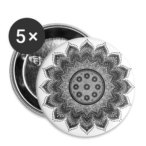 Handpan - Hang Drum Mandala gray - Buttons groß 56 mm