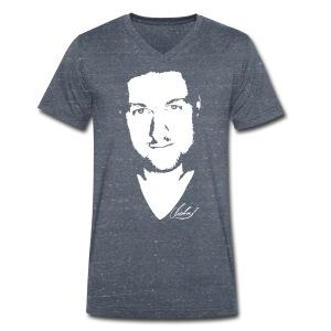 MF T-Shirt V - logo/weiss - Männer Bio-T-Shirt mit V-Ausschnitt von Stanley & Stella