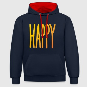 Happy  - Contrast Colour Hoodie