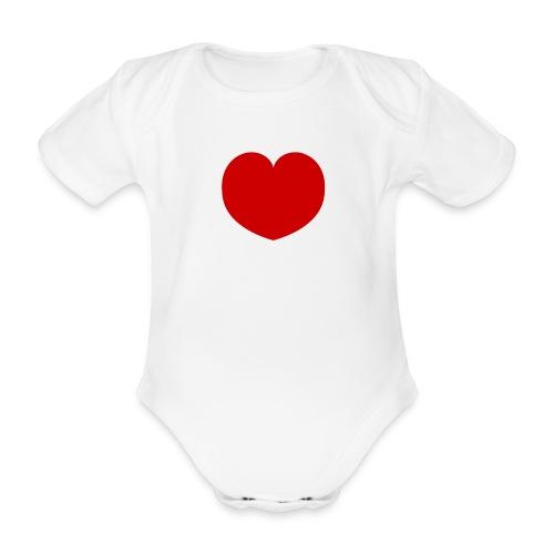 Rompertje - hart - Baby bio-rompertje met korte mouwen