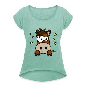 T-shirt mr Femme Poney Club, Équitation, Cheval - T-shirt à manches retroussées Femme