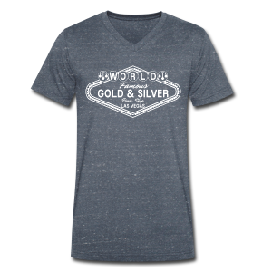 Gold & Silver Pawn Shop Logo à la Las Vegas - Men's Organic V-Neck T-Shirt by Stanley & Stella