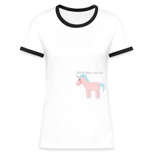 Jednorożec - koszulka damska kontrast - Koszulka damska z kontrastowymi wstawkami