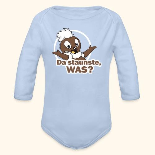 Baby Bio-Langarm-Body Pittiplatsch Da staunste 2-farbig - Baby Bio-Langarm-Body