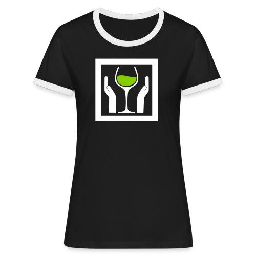 Wine with Care! - Frauen Kontrast-T-Shirt