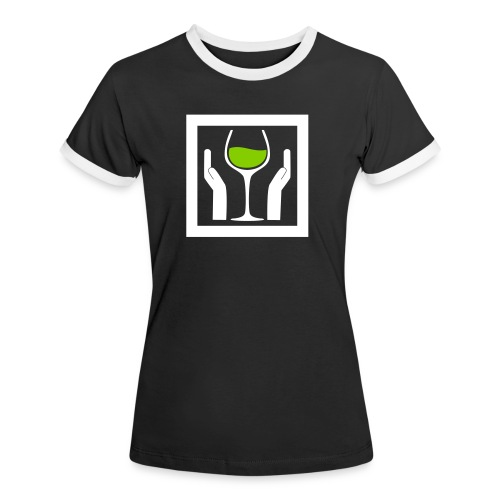 Wine with Care! - Frauen Kontrast-T-Shirt