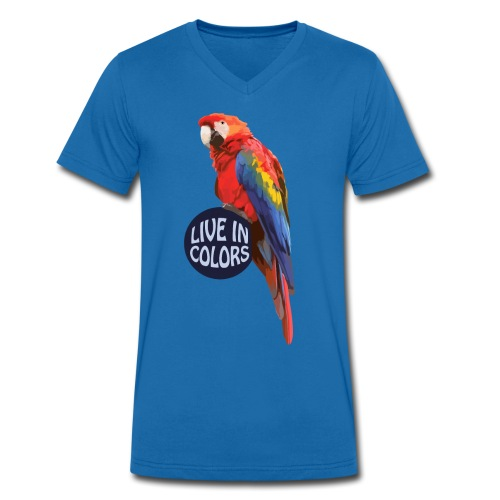 Parrot - Live in colors - Men's Organic V-Neck T-Shirt by Stanley & Stella
