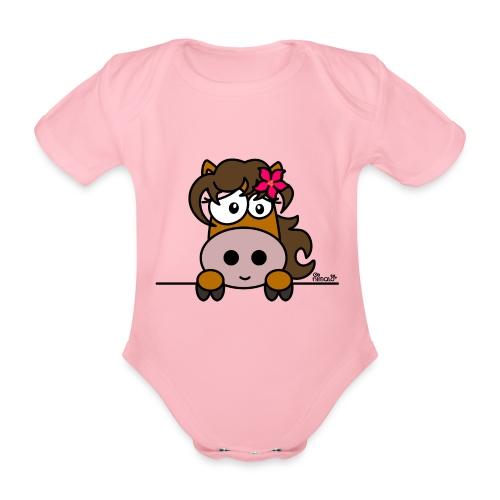 Body bébé Poney Fleur, Cheval, Pony - Body bébé bio manches courtes