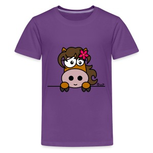 T-shirt P Ado Poney Fleur, Cheval, Pony - T-shirt Premium Ado