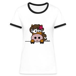 T-shirt cntr Femme Poney Fleur, Cheval, Pony - T-shirt contrasté Femme