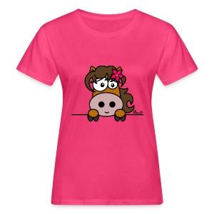 T-shirt Bio Femme Poney Fleur, Cheval, Pony - T-shirt bio Femme