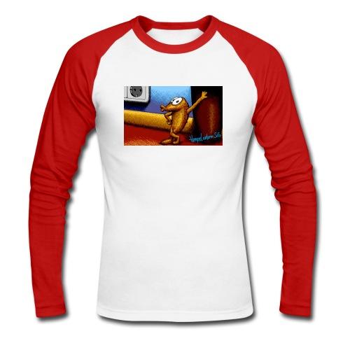 Hempel unterm Sofa, Zeichnung-  Long Sleeve RED - Männer Baseballshirt langarm