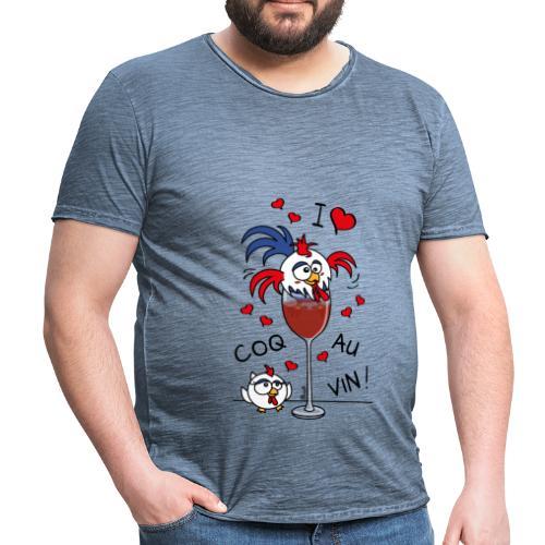 T-shirt Vintage Homme Coq au Vin, France, Cuisine - T-shirt vintage Homme