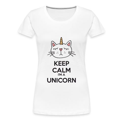 ♀ - Keep calm cat unicorn - Women's Premium T-Shirt
