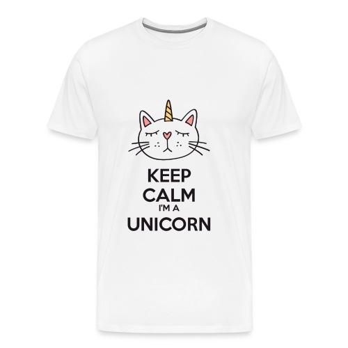 ♂ - Keep calm cat unicorn - Men's Premium T-Shirt