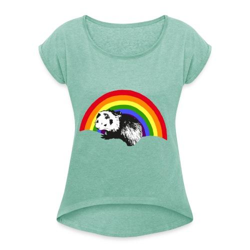 Frettchen Regenbogen - Frauen T-Shirt mit gerollten Ärmeln
