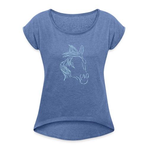 Dreamhorse, Boyfriendshirt ( Print Digital Light Blue) - Frauen T-Shirt mit gerollten Ärmeln