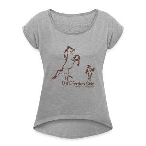 Josi, Boyfriendshirt ( Print Digital Chocolate) - Frauen T-Shirt mit gerollten Ärmeln