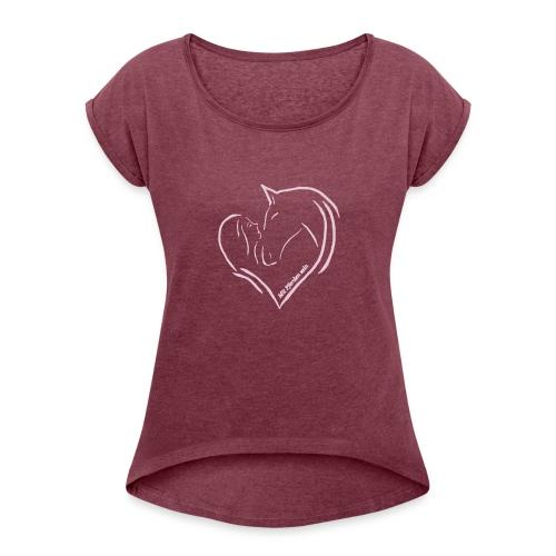 Heart, Boyfriendshirt ( Print Digital Rosé) - Frauen T-Shirt mit gerollten Ärmeln