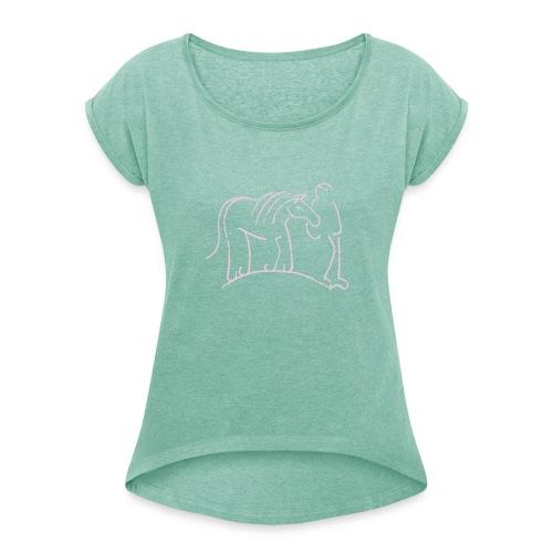 Walking Together, Boyfriendshirt ( Print Digital Rosa) - Frauen T-Shirt mit gerollten Ärmeln