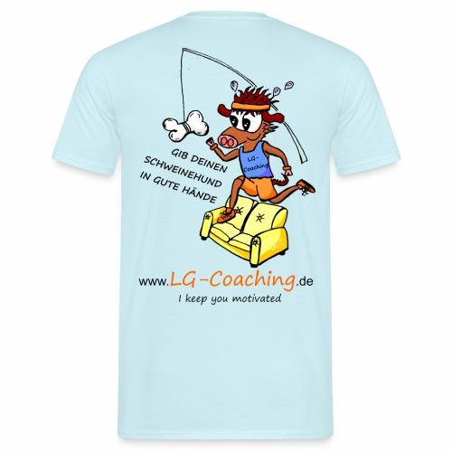 Männer-Baumwoll-Shirt Schweinehund_hinten_mit_LG-Logo - Männer T-Shirt