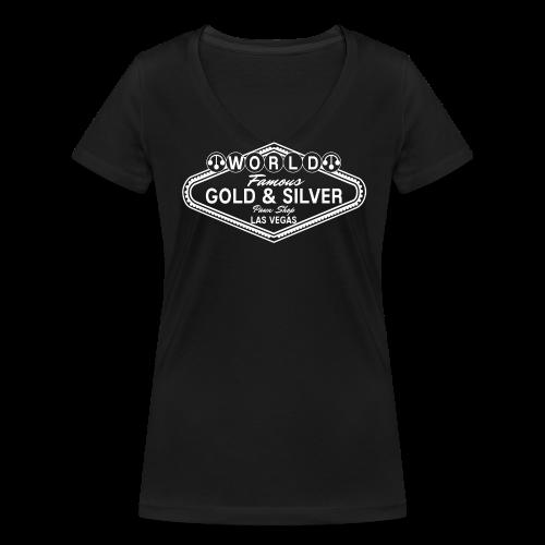 Gold & Silver Pawn Shop Logo à la Las Vegas - Women's Organic V-Neck T-Shirt by Stanley & Stella