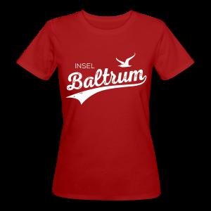 Bio-Baumwoll-Shirt mit Baltrum-Logo, dunkelrot - Frauen Bio-T-Shirt