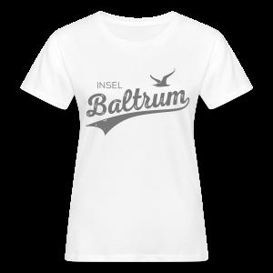 Bio-Baumwoll-Shirt mit Baltrum-Logo, weiss / grau - Frauen Bio-T-Shirt