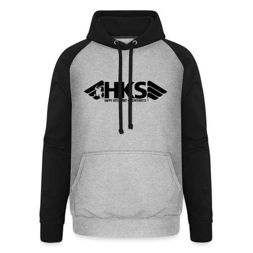 Sweat a Capuche Gris noir Logo Noir HKS - Sweat-shirt baseball unisexe