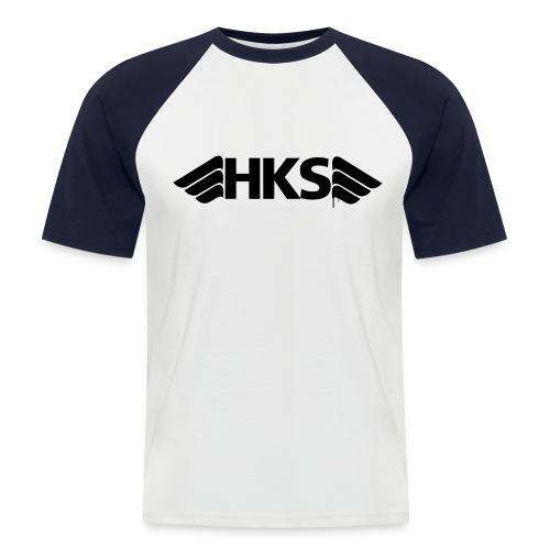 T-Shirt Gris Bleu Logo Noir HKS - T-shirt baseball manches courtes Homme
